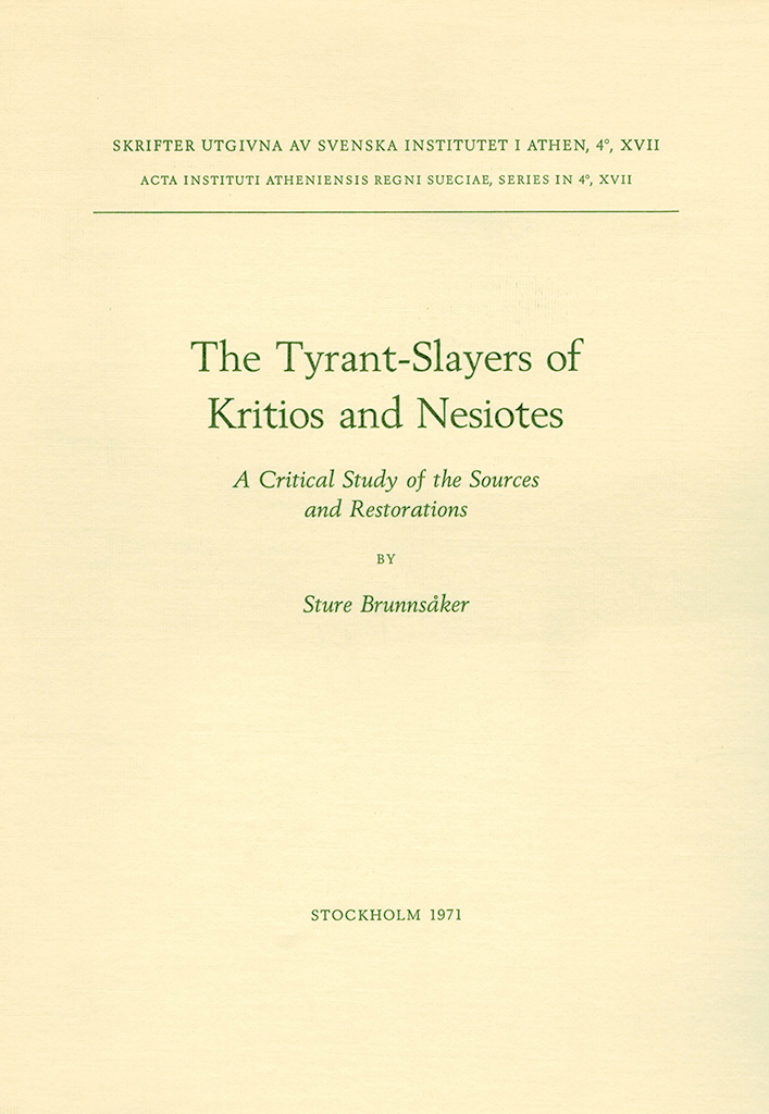 Front cover of The Tyrant Salyers of Kritios and Nesiotes, Stockholm 1971
