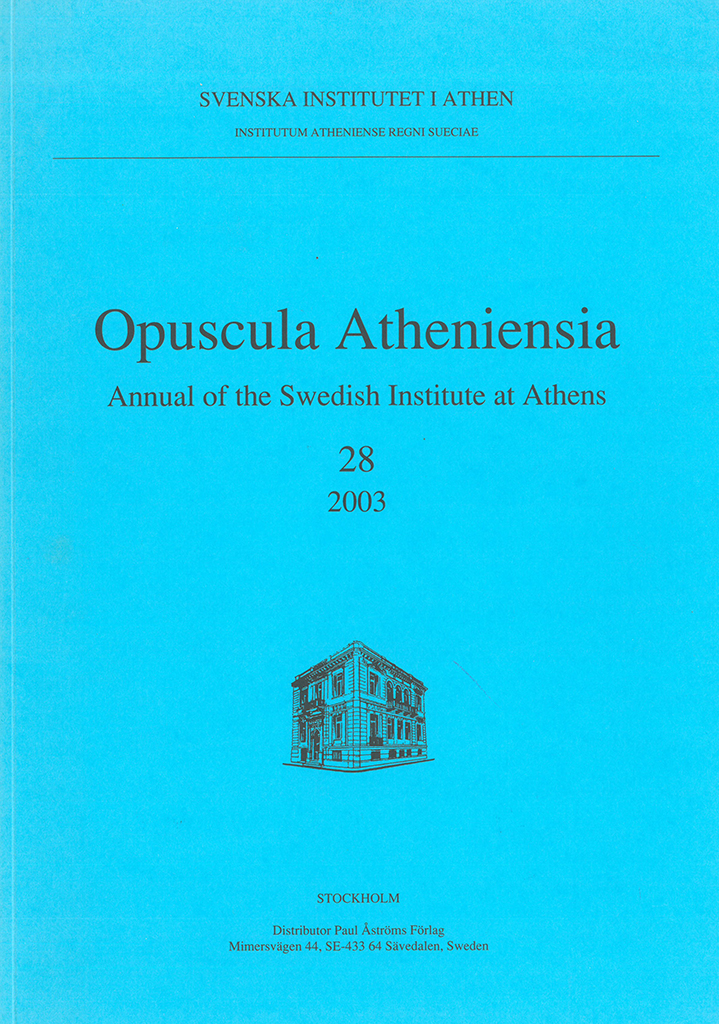 Front cover of Opuscula Atheniensia 28