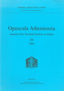 Front cover of Opuscula Atheniensia 29