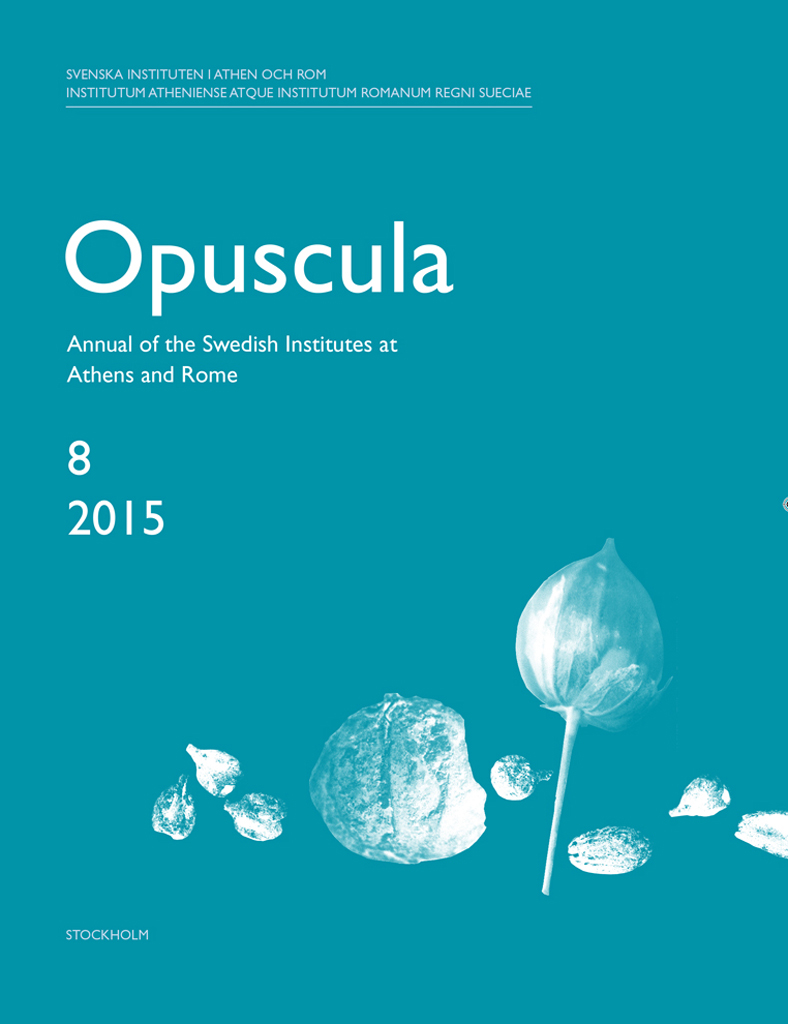 Front cover of Opuscula. Annual of the Swedish Institutes at Athens and Rome (OpAthRom) 8, Stockholm 2015. ISSN: 2000-0898. ISBN: 978-91-977798-7-6. Softcover, 196 pages.