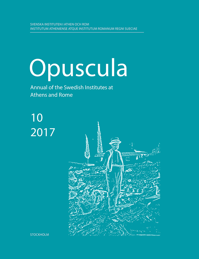 Front cover of Opuscula. Annual of the Swedish Institutes at Athens and Rome 10 (2017)