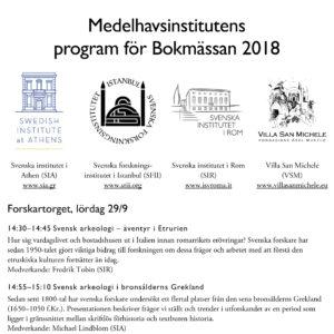 Medelhavsinstitutens program för Bokmässan 2018 som pdf