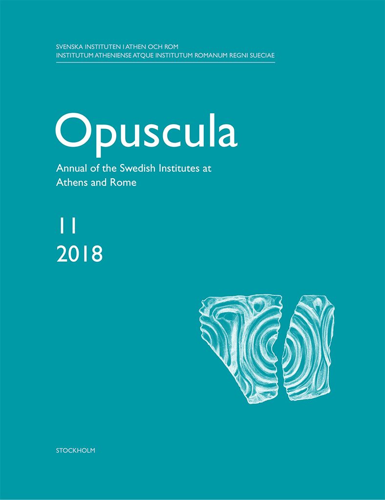 Front cover of Opuscula. Annual of the Swedish Institutes at Athens and Rome 11 (2018)