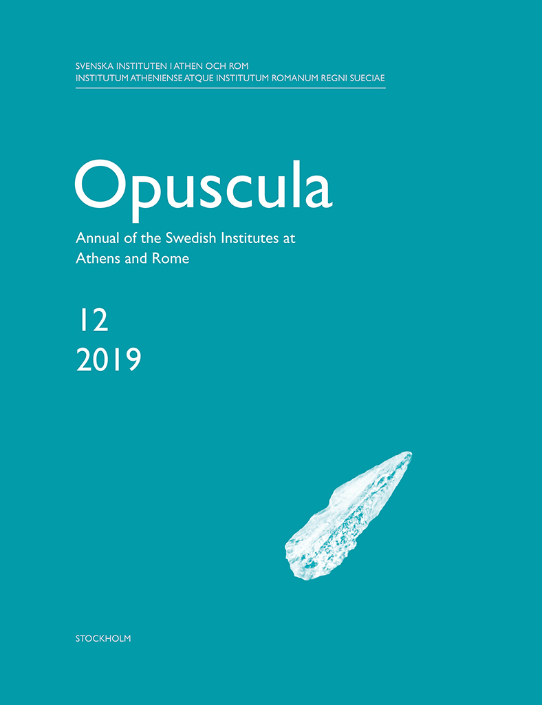 Front cover of Opuscula. Annual of the Swedish Institutes at Athens and Rome 12, 2019