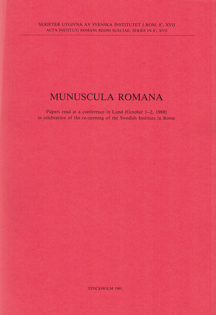 Front cover of Munuscula Romana