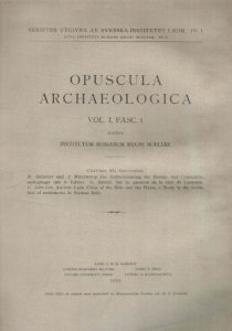Front cover of Opuscula Archaeologica, vol. 1