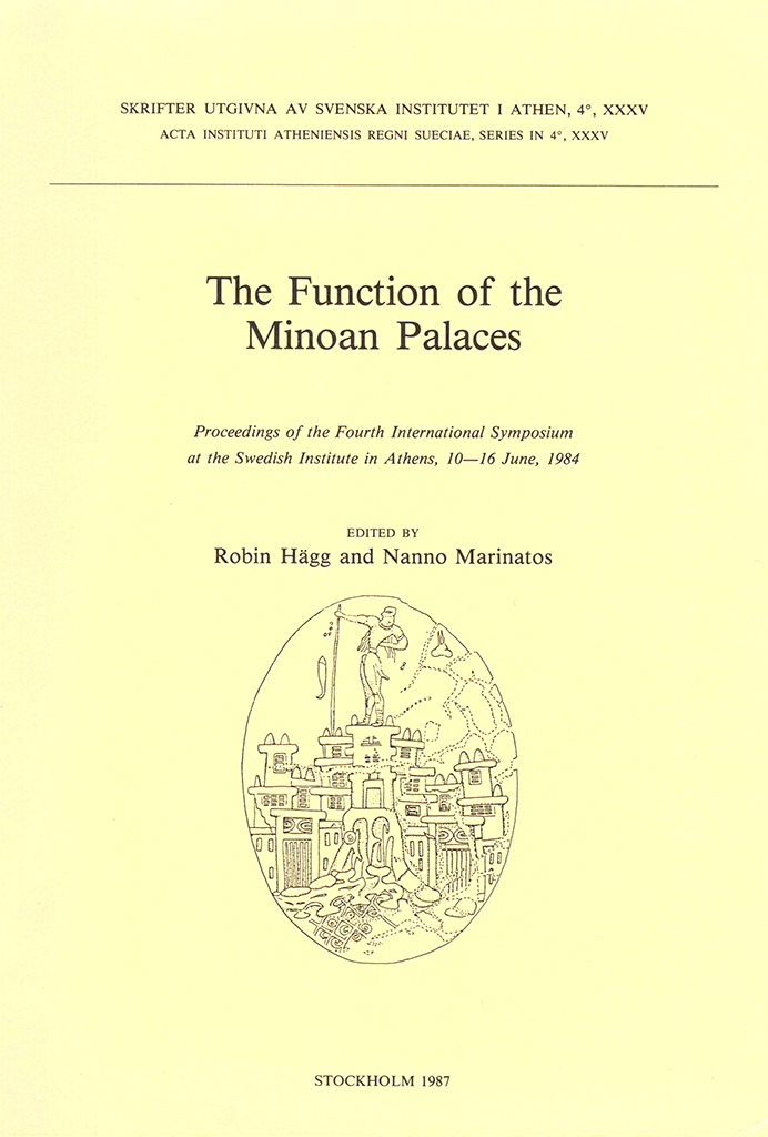 Front cover of The function of the Minoan palaces