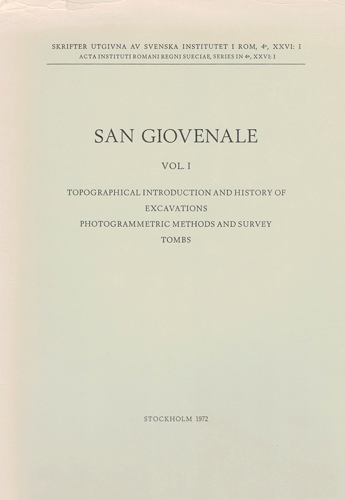 Front cover of B.E. Thomasson et al., San Giovenale 1, Stockholm 1972.